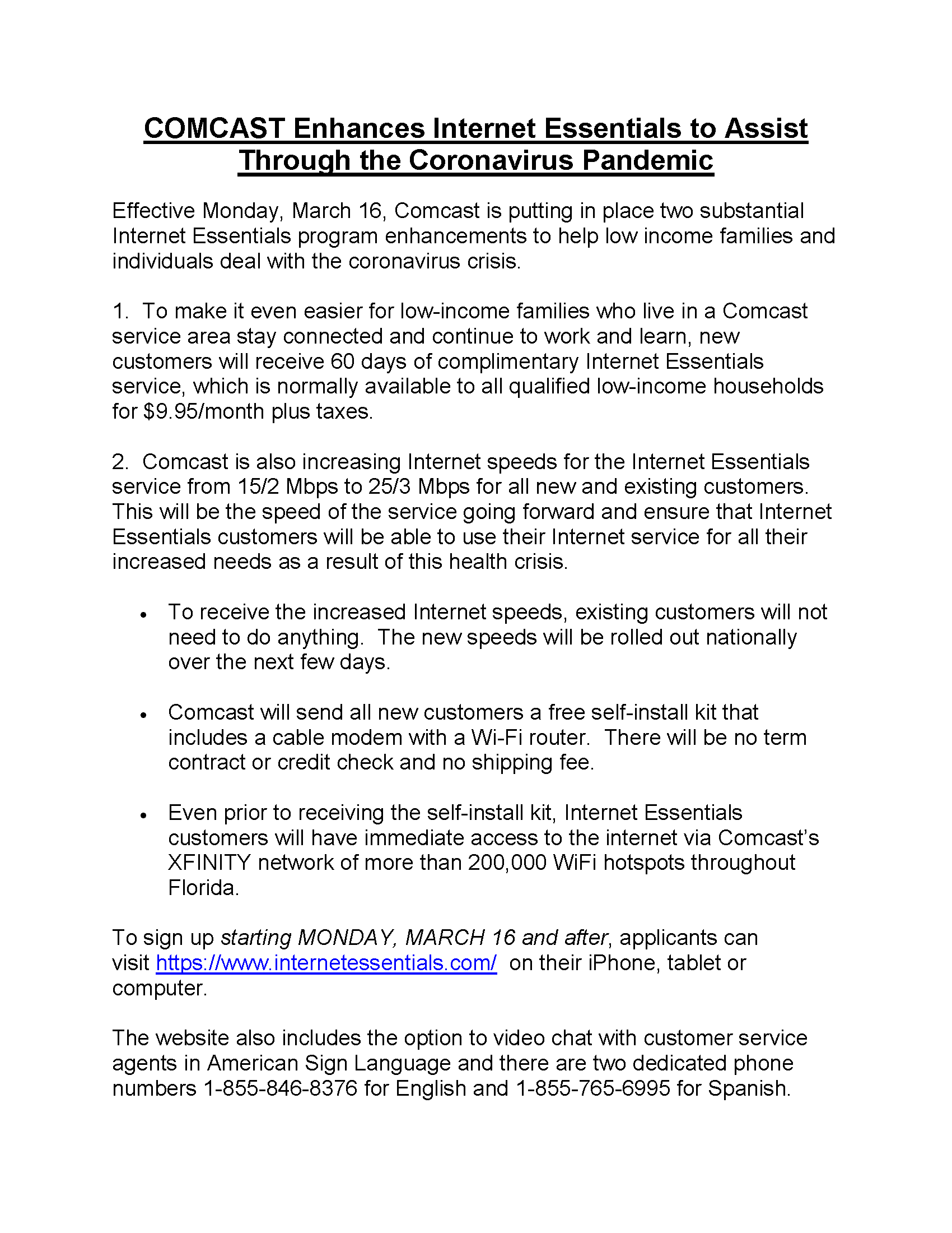COMCAST Enhances Internet Essentials to Assist Through the Coronavirus Pandemic LETTER